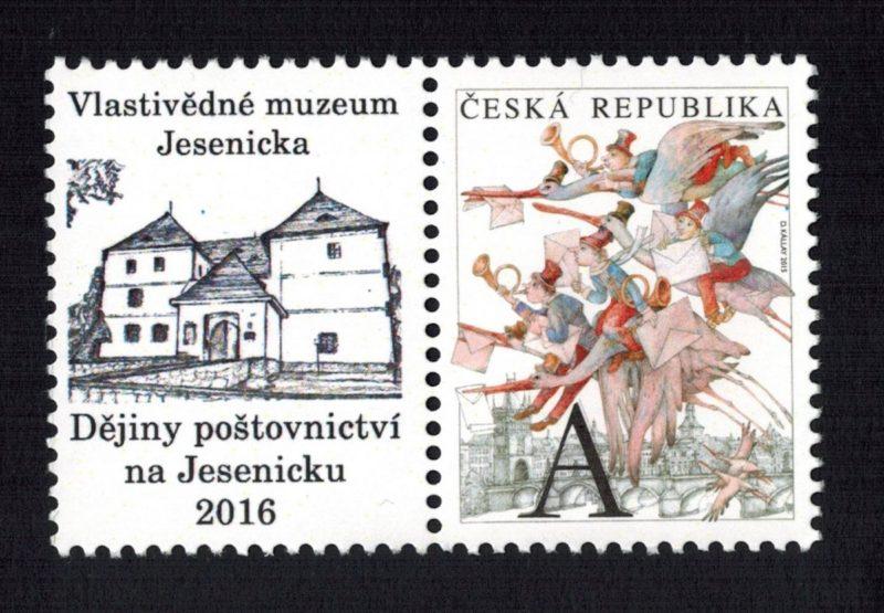 Nová poštovní známka s přítiskem. V rámci zajímavé výstavy ve Vlastivědném muzeu Jesenicka
