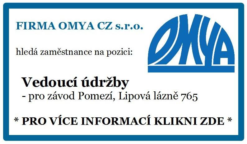 INZERCE – Firma Omya CZ s.r.o. přijme VEDOUCÍHO ÚDRŽBY