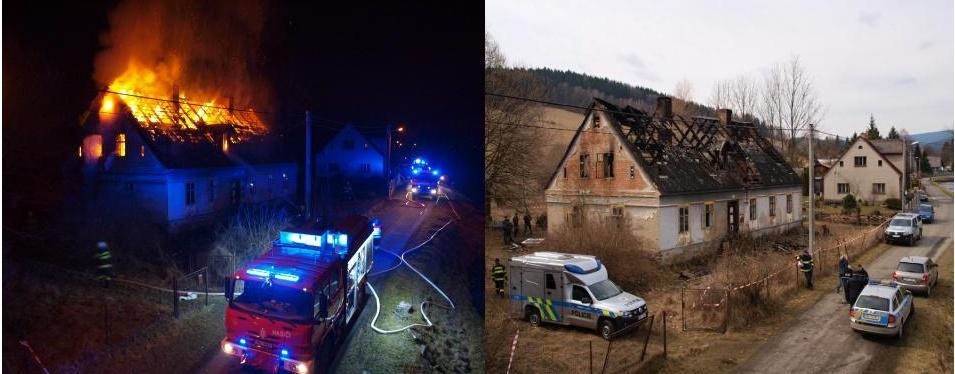 Požár rodinného domu v Lipové Lázních založil úmyslně šestatřicetiletý muž! Už sedí ve vazbě