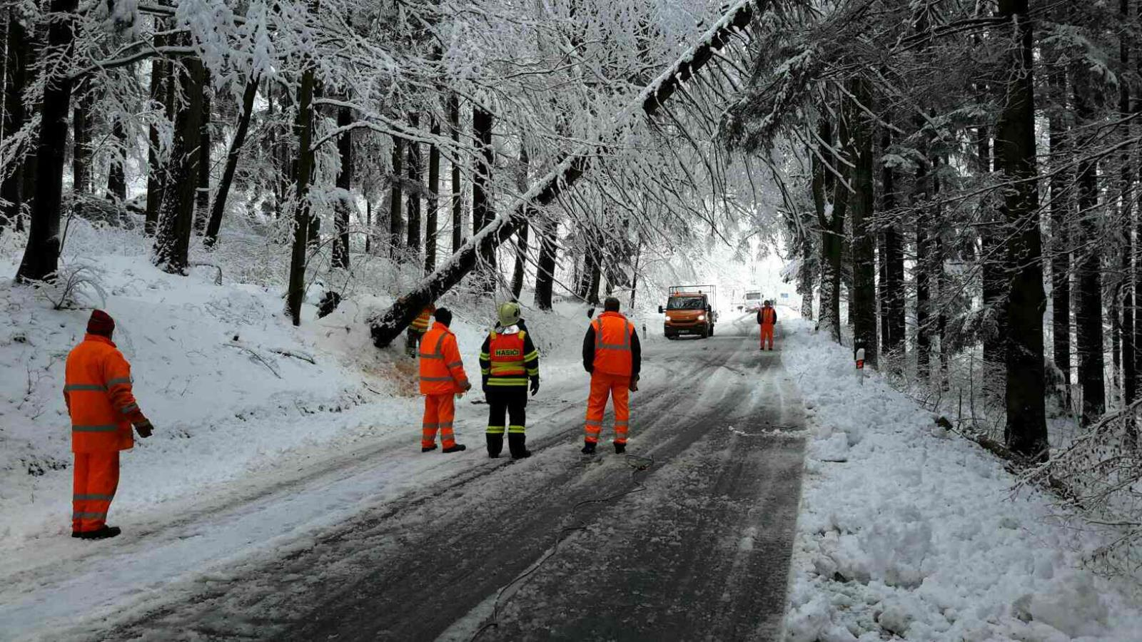 Jeseničtí hasiči odstraňují popadané stromy